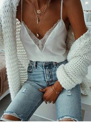 Lace Silk Top
